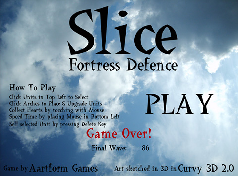 Slice Fortress Defense トップ画面