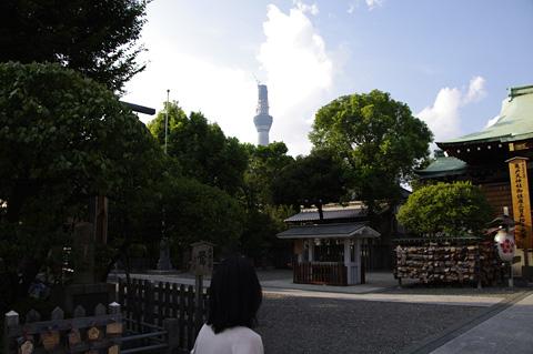 亀戸天神社から見えるスカイツリー