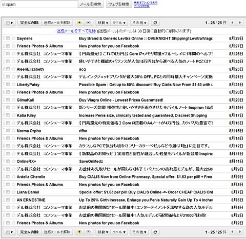 迷惑メールの4割がDellからの迷惑メールです